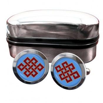 Endless Knot of Eternity Round Cufflinks