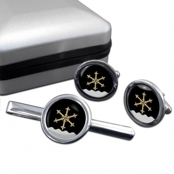 Kouvola Round Cufflink and Tie Clip Set