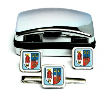 Krefeld (Germany) Square Cufflink and Tie Clip Set