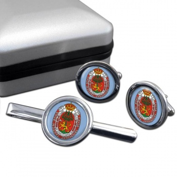 Kristiansand (Norway) Round Cufflink and Tie Clip Set