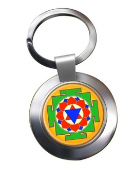 Krishna Yantra Leather Chrome Key Ring