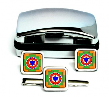 Krishna Yantra Square Cufflink and Tie Clip Set
