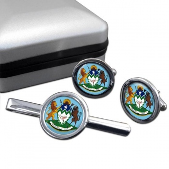KwaZulu-Natal (South Africa) Round Cufflink and Tie Clip Set