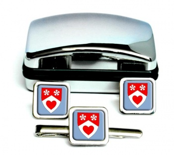 Lanarkshire (Scotland) Square Cufflink and Tie Clip Set