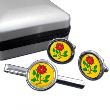 Lancashire Rose Round Cufflink and Tie Clip Set