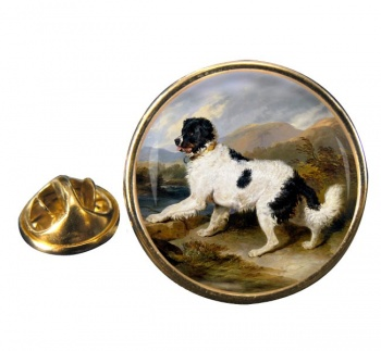 Lion a Newfoundland Dog by Landseer Round Pin Badge