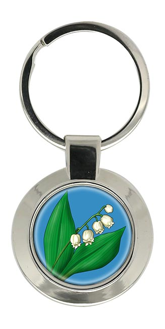 Lily of the Valley Chrome Key Ring