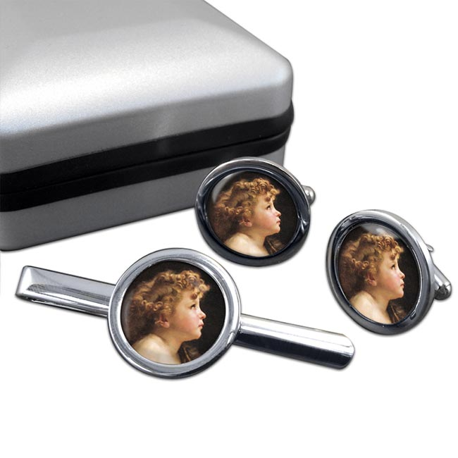 Young John the Baptist by Bouguereau Round Cufflink and Tie Clip Set