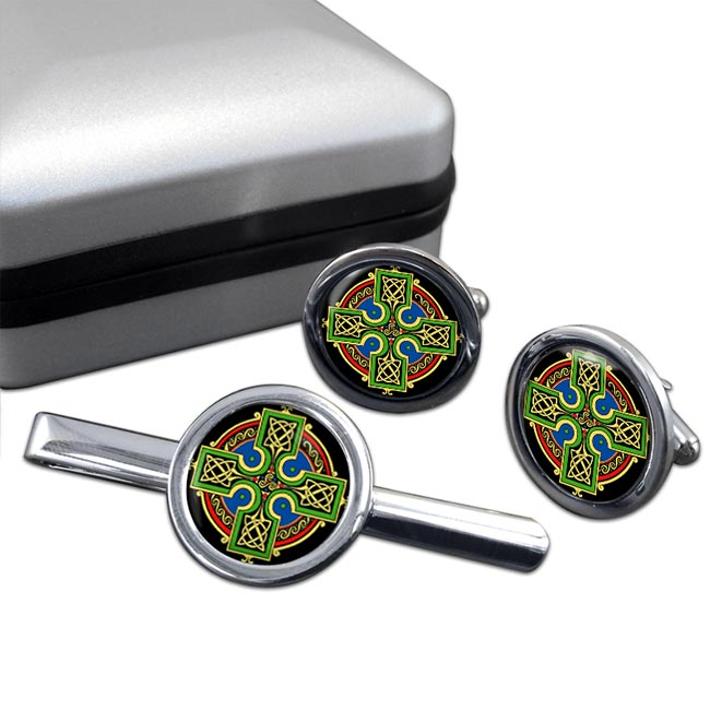 Celtic Cross Round Cufflink and Tie Clip Set