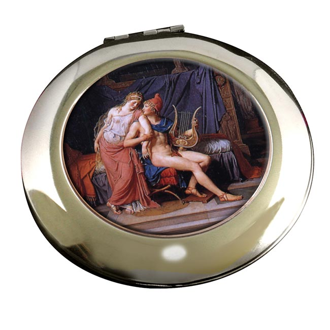 Paris et Helen by Jacques Louis David Round Mirror