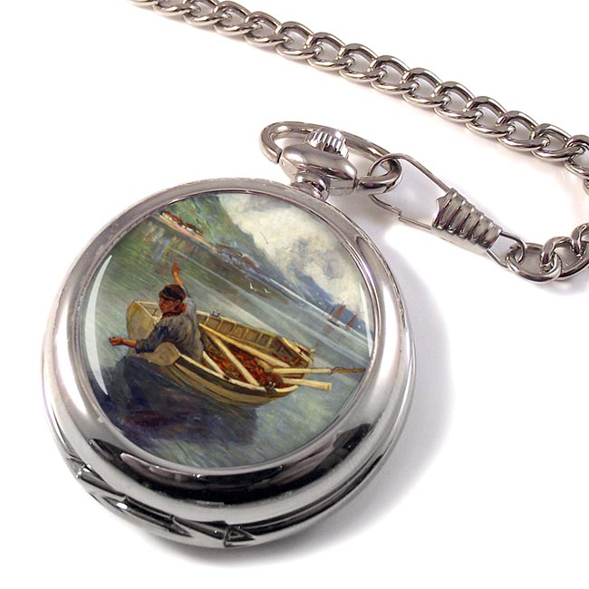 Fishing on a Scottish Loch by John Graham Pocket Watch