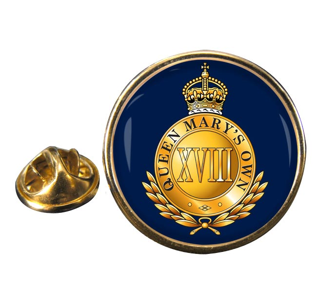18th Royal Hussars (Queen Mary's Own) British Army Round Pin Badge