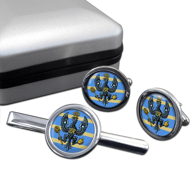 4th-20th King's Hussars (British Army) Round Cufflink and Tie Clip Set