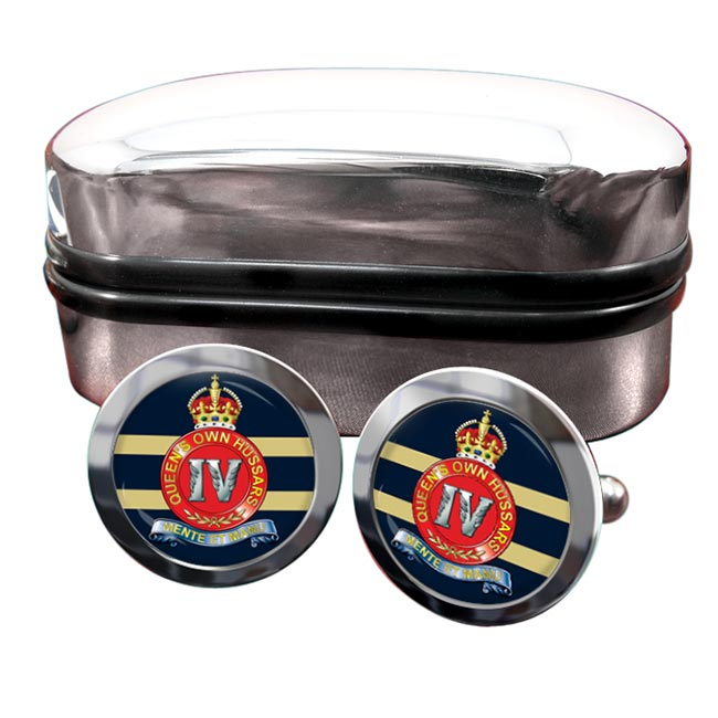 4th Queen's Own Hussars (British Army) Round Cufflinks