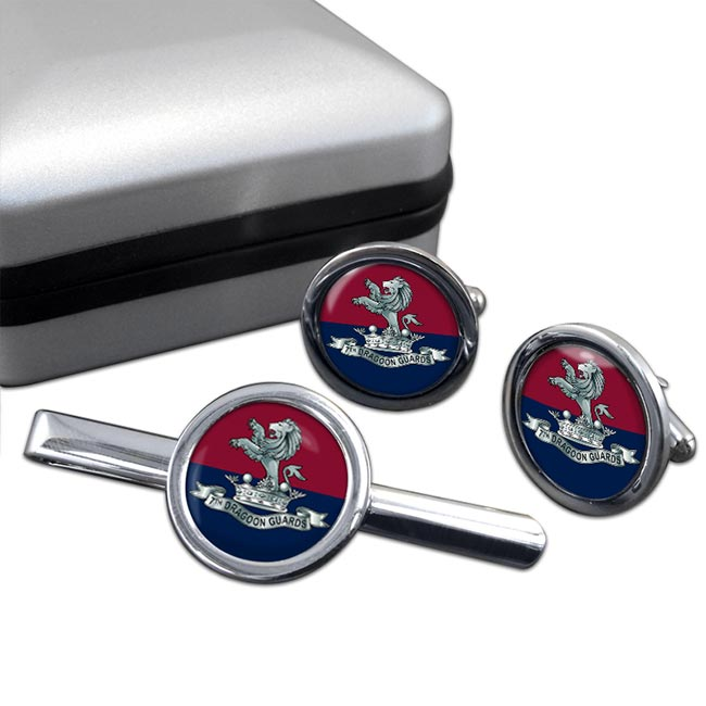 7th Dragoon Guards (British Army) Round Cufflink and Tie Clip Set