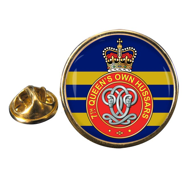 7th Queen's Own Hussars (British Army) Round Pin Badge