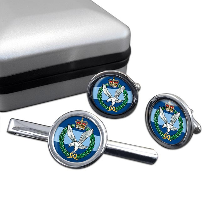 Army Air Corps Round Cufflink and Tie Clip Set
