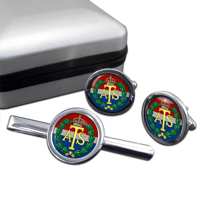 Auxiliary Territorial Service (British Army) Round Cufflink and Tie Clip Set