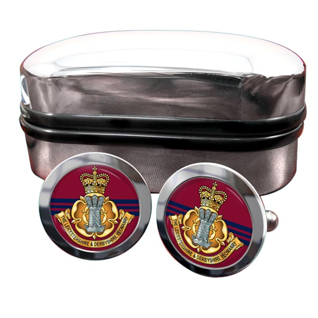 Leicestershire and Derbyshire Yeomanry (British Army) Round Cufflinks