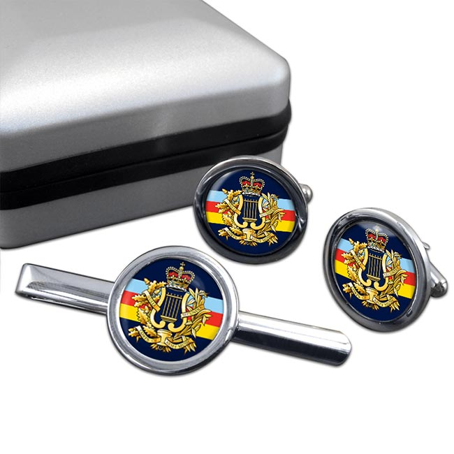 Corps of Army Music (British Army) Round Cufflink and Tie Clip Set