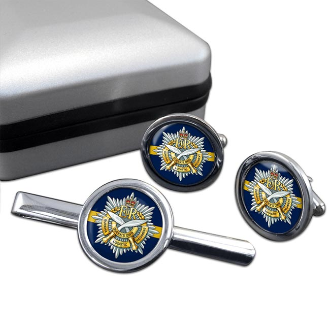 Queens Own Gurkha Logistic Regiment (British Army)  Round Cufflink and Tie Clip Set
