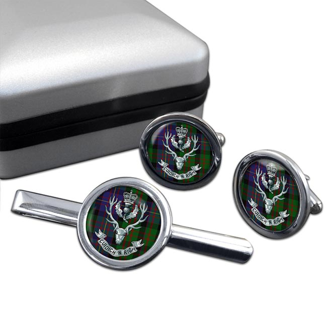 Queens Own  Highlanders (British Army) Round Cufflink and Tie Clip Set