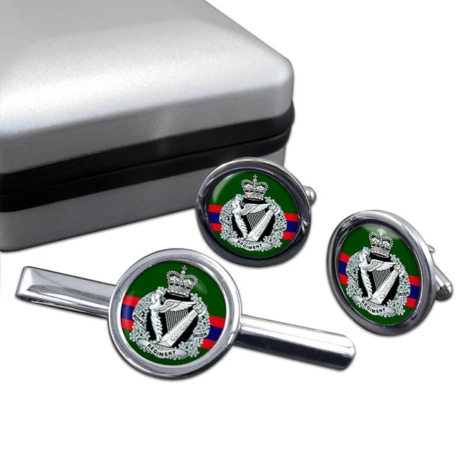 Royal Irish Regiment (British Army) Round Cufflink and Tie Clip Set