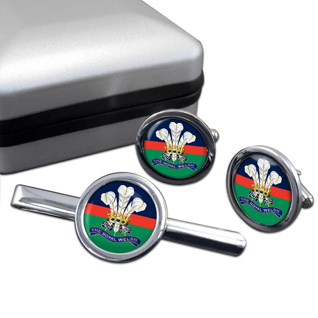 Royal Welsh (British Army) Round Cufflink and Tie Clip Set
