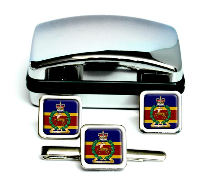 Royal Army Veterinary Corps (British Army) Square Cufflink and Tie Clip Set