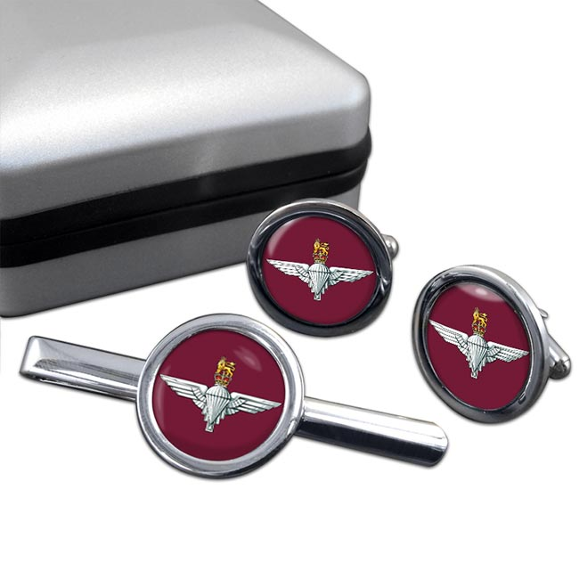 Parachute Regiment (British Army) Round Cufflink and Tie Clip Set