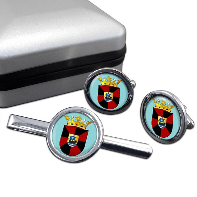 Almere (Netherlands) Round Cufflink and Tie Clip Set