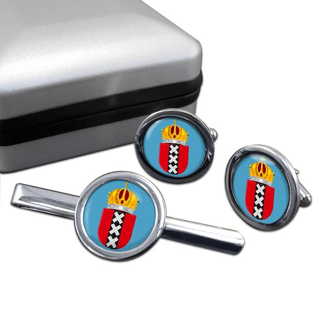 Amsterdam (Netherlands) Round Cufflink and Tie Clip Set