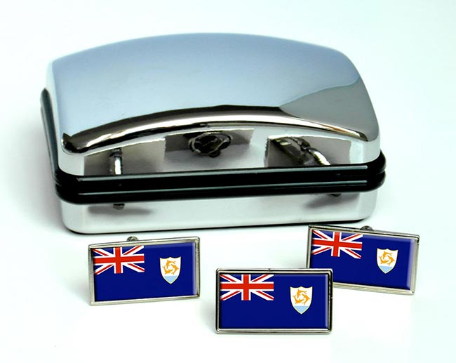 Anguilla Flag Cufflink and Tie Pin Set