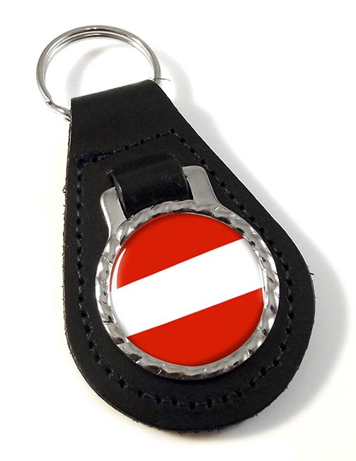 Flagge Osterreichs (Austria) Leather Key Fob