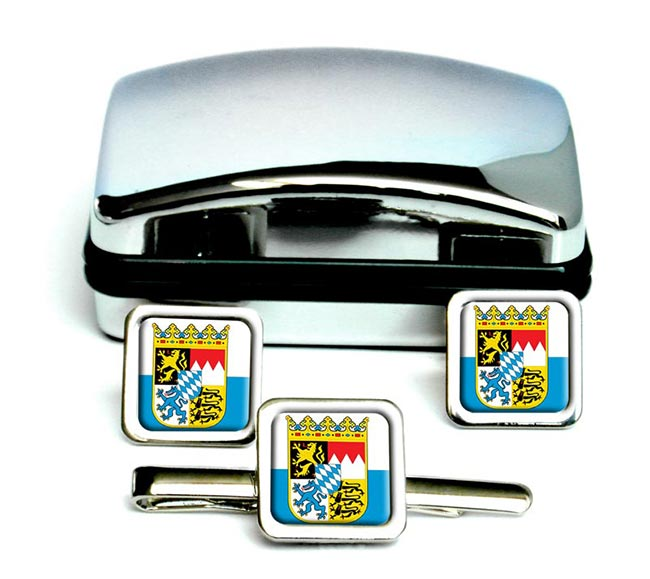 Bayern Bavaria (Germany) Square Cufflink and Tie Clip Set