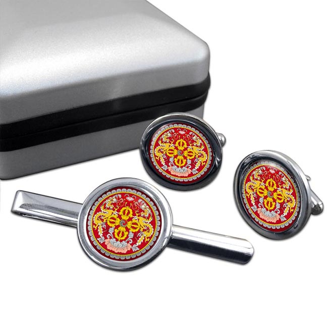Bhutan Round Cufflink and Tie Clip Set