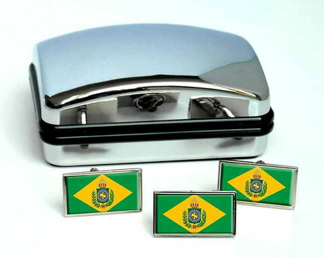 Imperio do Brasil Flag Cufflink and Tie Pin Set