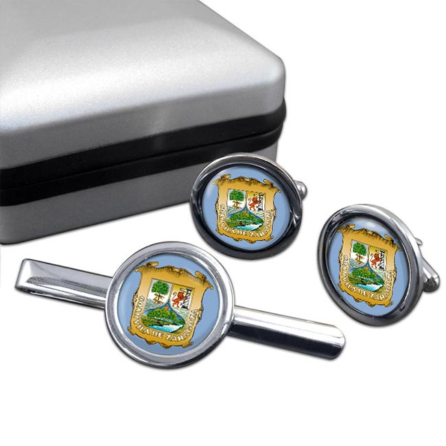Coahuila (Mexico) Round Cufflink and Tie Clip Set