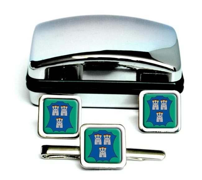 Dublin (Ireland) Square Cufflink and Tie Clip Set