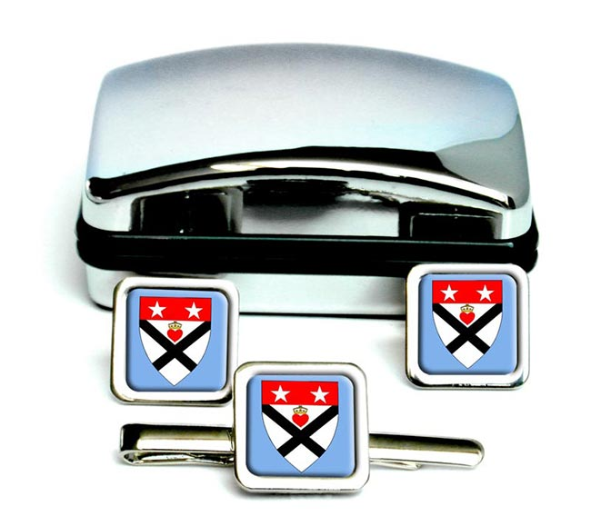 Dumfriesshire (Scotland) Square Cufflink and Tie Clip Set