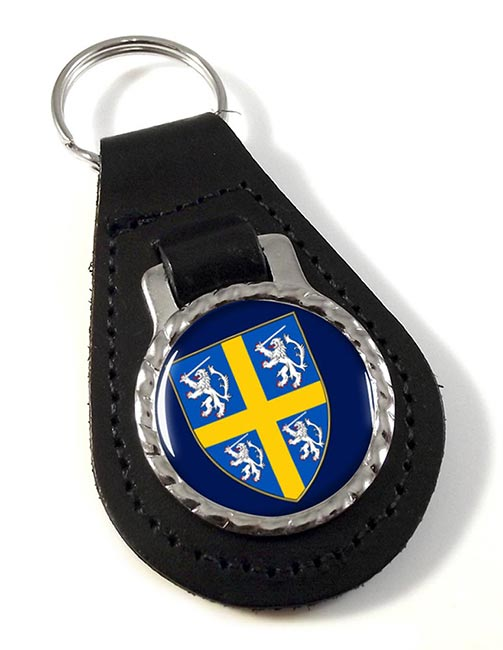 Durham historic arms Leather Key Fob