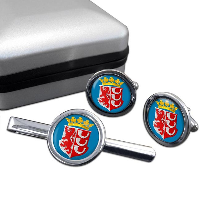 Eindhoven (Netherlands) Round Cufflink and Tie Clip Set