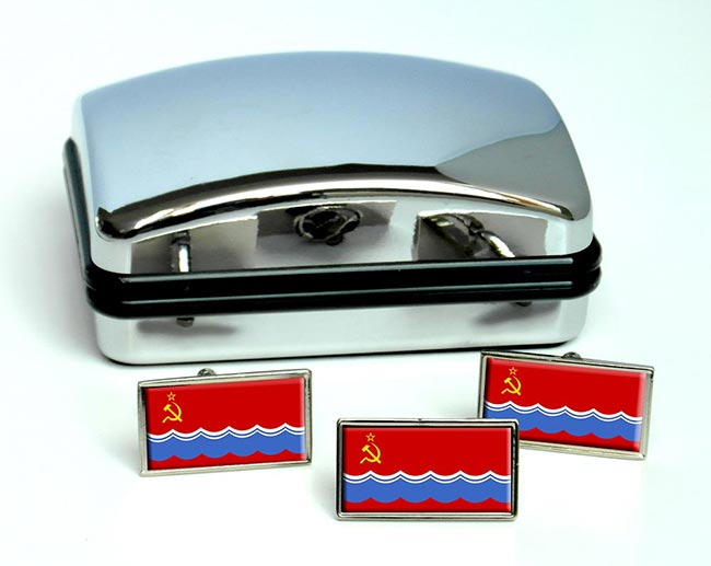 Estonian Soviet  Flag Cufflink and Tie Pin Set