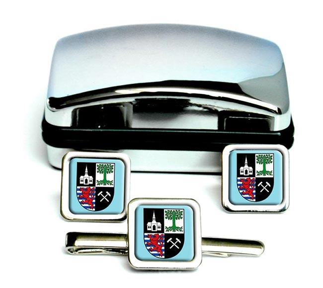 Gelsenkirchen (Germany) Square Cufflink and Tie Clip Set