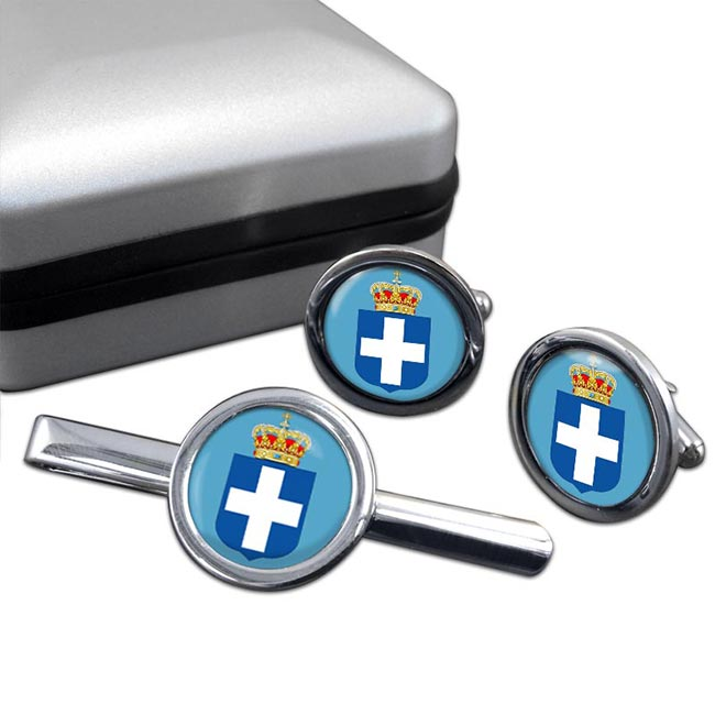 Kingdom of Greece  Round Cufflink and Tie Clip Set