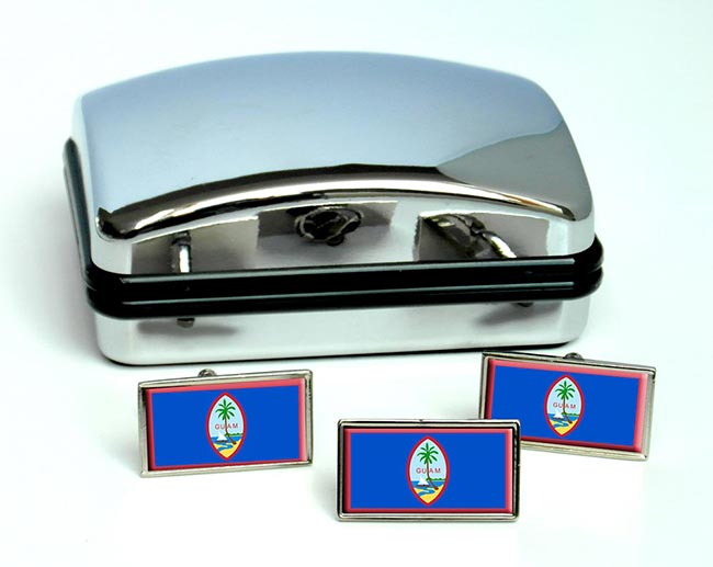 Guam Guahan Flag Cufflink and Tie Pin Set