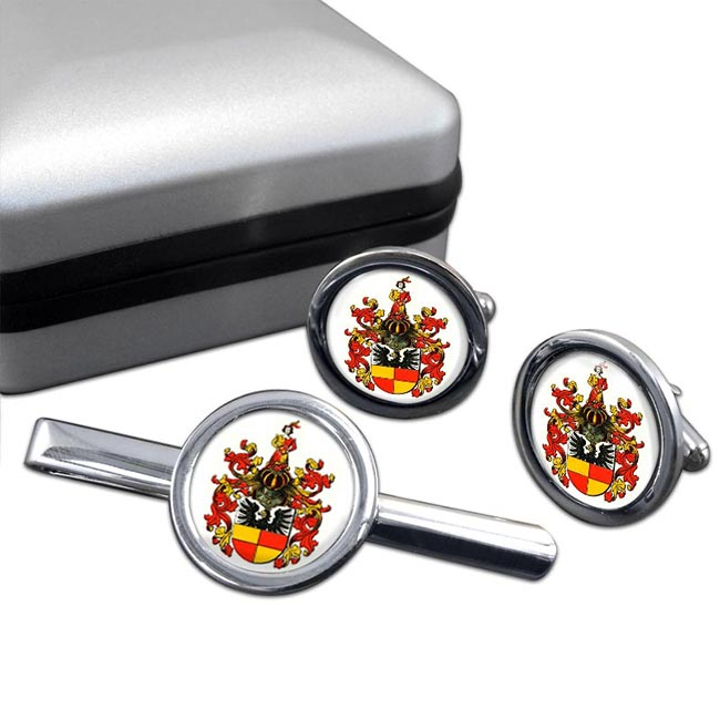 Hildesheim (Germany) Round Cufflink and Tie Clip Set