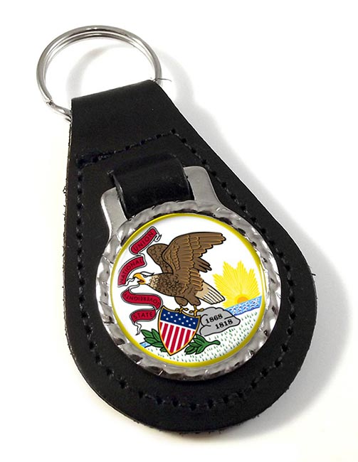 Illinois  Leather Key Fob