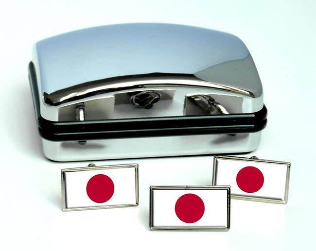 Japan Flag Cufflink and Tie Pin Set