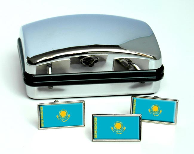Kazakhstan  Flag Cufflink and Tie Pin Set